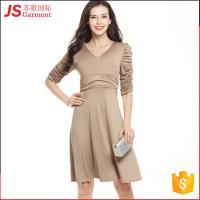 Quality JS 20 Hot Fold Deep V Collar Pictures Slim Office Dress For Woman Ladies 724 for sale