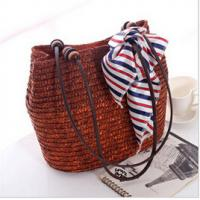 Quality 26229 wheat straw bag, lady hand bags, beach straw bag for sale