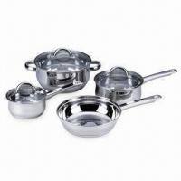 Quality 4-piece Stainless Steel Cookware Set with Capsule Bottom and Color Box Packing for sale