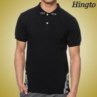 Quality Eco Friendly Black Short Sleeve Polo Shirts with Mature Silk Screen for sale