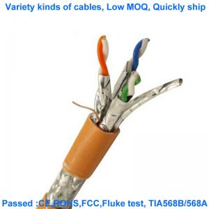 Quality CAT7 SFTP 23AWG Double Shielded Network Cable Oxygen Free Foamed PE for sale