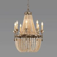 Quality American white wood bead chandelier For dining room Kitchen Lighting (WH-CI-07) for sale