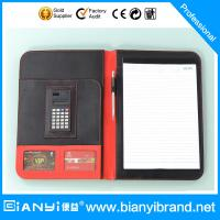 China Leather zipper portfolio with calculator & 20 sheets pad on sale