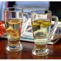 China Hot sale Hero beer glass cup with handle from China Anhui langxu Glassware on sale