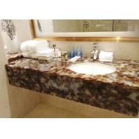 Quality Brown Bath Jade Stone Countertops Supplier With Single Basin , Honed Stone Countertops for sale