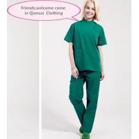 Quality Stand Collar Scrubs Medical Uniforms , Short Sleeve Cotton Green Surgical Gown for sale