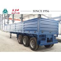 China Drop Side Trailer With 1.2 Meter Side Wall , Flatbed Utility Trailer Spring Suspension on sale