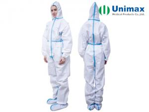 Quality Cat III Type 4/5/6 Disposable White Coverall With Blue Tape for sale