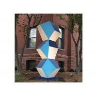 China Stainless Steel Outdoor Art Painted Metal Sculpture Geometric Decor Sculpture on sale
