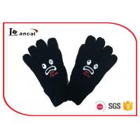 China Black Mens Winter Gloves With Offset Printing Monster , Insulated Winter Gloves on sale
