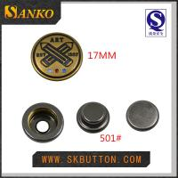 Quality custom metal snap button in 17mm with you logo in high quality for sale