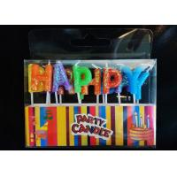 Quality Glitter Letter Shaped Birthday Candles Colorful Wax Material With Plastic Stick for sale