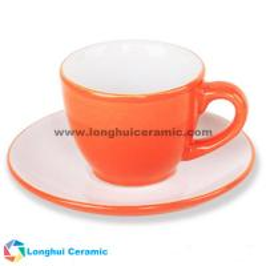 China 80cc tone pure color glaze ceramic coffee cups and saucers on sale