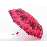 China Heat Transfer Printing Allover Rose Printed Ladies Compact Folding Automatic Umbrella on sale