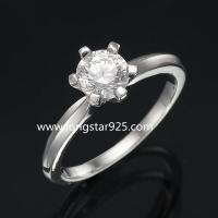 China 925 silver single stone cz rings, wedding rings, engagement rings on sale