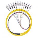 Quality 12 Core FC / UPC Fiber Optic Pigtail 12 Color Fan Out Fiber Pigtail With LSZH Cable for sale