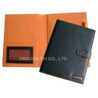 China A5 PU leather Portfolios with Pen Holder,A5 Leather File Folder,Rounded Corners on sale