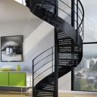 Quality Indoor / Outdoor Powder Coated Black Metal Spiral Staircase Price / prefab Stairs for sale