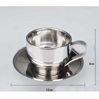 China Stainless Steel Tea  Cup With Saucer Double layer Tea Mug 300ml on sale