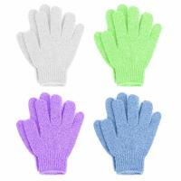 China Double Sided Exfoliating Gloves Body Scrubber Scrubbing Glove Bath Mitts Scrubs for Shower on sale