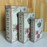 Antique crown nice rose Home decoration book shape wood box Wholesale wooden storage Box pvc nice design