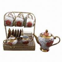 China 17 pieces tea set with metal stand on sale