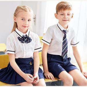 Quality Kids British Kindergarten Primary School Uniform White Short Sleeve Shirt Sets for sale