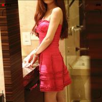 Quality Delicate tailoring extreme pretty strapless pink short tight party bandage dress for sale