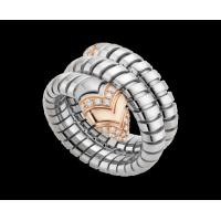China Bulgari Serpenti Tubogas ring in 18 kt pink gold, steel and pavé diamonds Ref. AN856666 wholesale