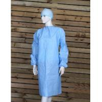 Quality Isolation Disposable Surgical Gown, Blue Isolation Gowns Elastic Knitted Cuff for sale