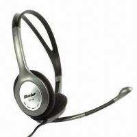 Quality Gray Noise-canceling Wired Headsets with Boom Microphone for sale