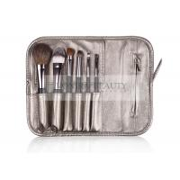 Leather Bag Portable 6Pcs Foundation Makeup Brush Customized Logo