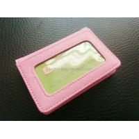 Quality Women Card Holder Leather Credit Card Holder Mini Leather Wallet With Clear Window for sale