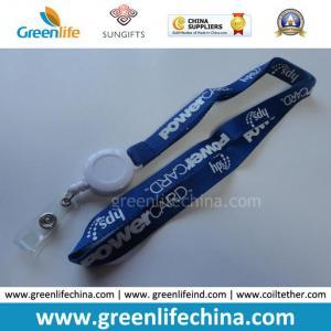 China Dark blue breakaway safety lanyard w/custom white screenprint and custom white badge reel combo on sale