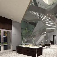 Quality Prefabricated Stainless Steel Glass Stairs Curved Stair Manufacturers with Spigot Glass Railing for sale