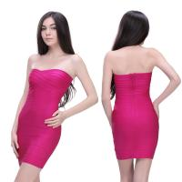Quality Dramatic peach strapless knee length bodycon bandage bridesmaid dress for sale