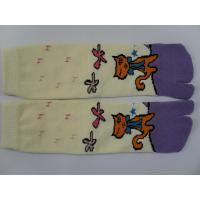 Quality Custom Made Yellow + Purple Combed Cotton Separate Two Toe Socks With Cat Pattern for sale