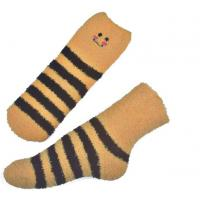 Quality Yellow Smile pattern mens aloe socks Polyester plush therapy 19x13x8.5 cm for sale