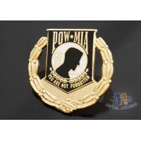 Quality Custom Metal Hard Enamel Pow Mia Logo Lapel Pin Bages, Logo Effect Shiny Gold Silver Or Copper Plating for sale