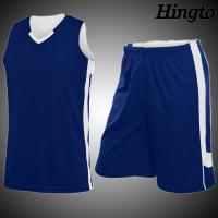 Quality White And Blue Basketball Wear Youth Basketball Shorts / Shirts for Men for sale