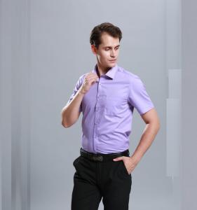 Quality Men Business Dress Shirts Short Sleeve Stylish Anti - Pilling Turn Down Collar for sale