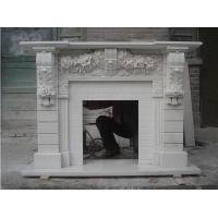 Quality White Marble Fireplace Mantels with flower carving for sale