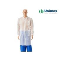 Quality Unimax Medical Elastic 3 Pockets Non Woven Lab Coat for sale