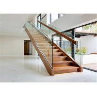Quality China Indoor Straight Staircase Double Square Tube Stringer Straight Stairs Systems for sale