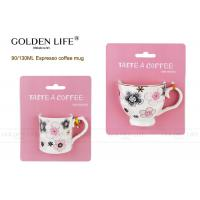 Quality Solid Material Porcelain Cappuccino Espresso Cups AB Grade With Pink Flowers Design for sale