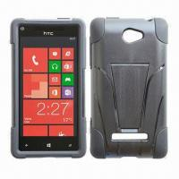 Quality Cases for HTC Windows Phone 8S, Made of Silicone and PC, with Kickstand for sale