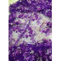 Quality Luxury Guipure 3D Flower Lace Fabric For Apparel 135cm Width Purple for sale