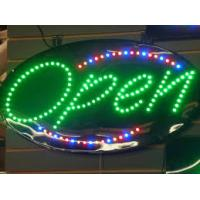 Quality Bright Red Neon LED Open Sign Green Border Horiontal Shaped Lighted Signage for sale