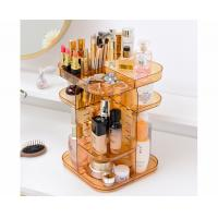 Quality Spinning holder storage rack 360 degree rotation square cosmetic makeup storage organizer for makeup brushes lipsticks for sale