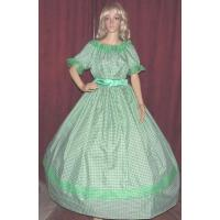 Quality Wholesale Civil War CIVIL WAR PIONEER DICKENS SASS ANTEBELLUM Green Gingham Check Costume for sale